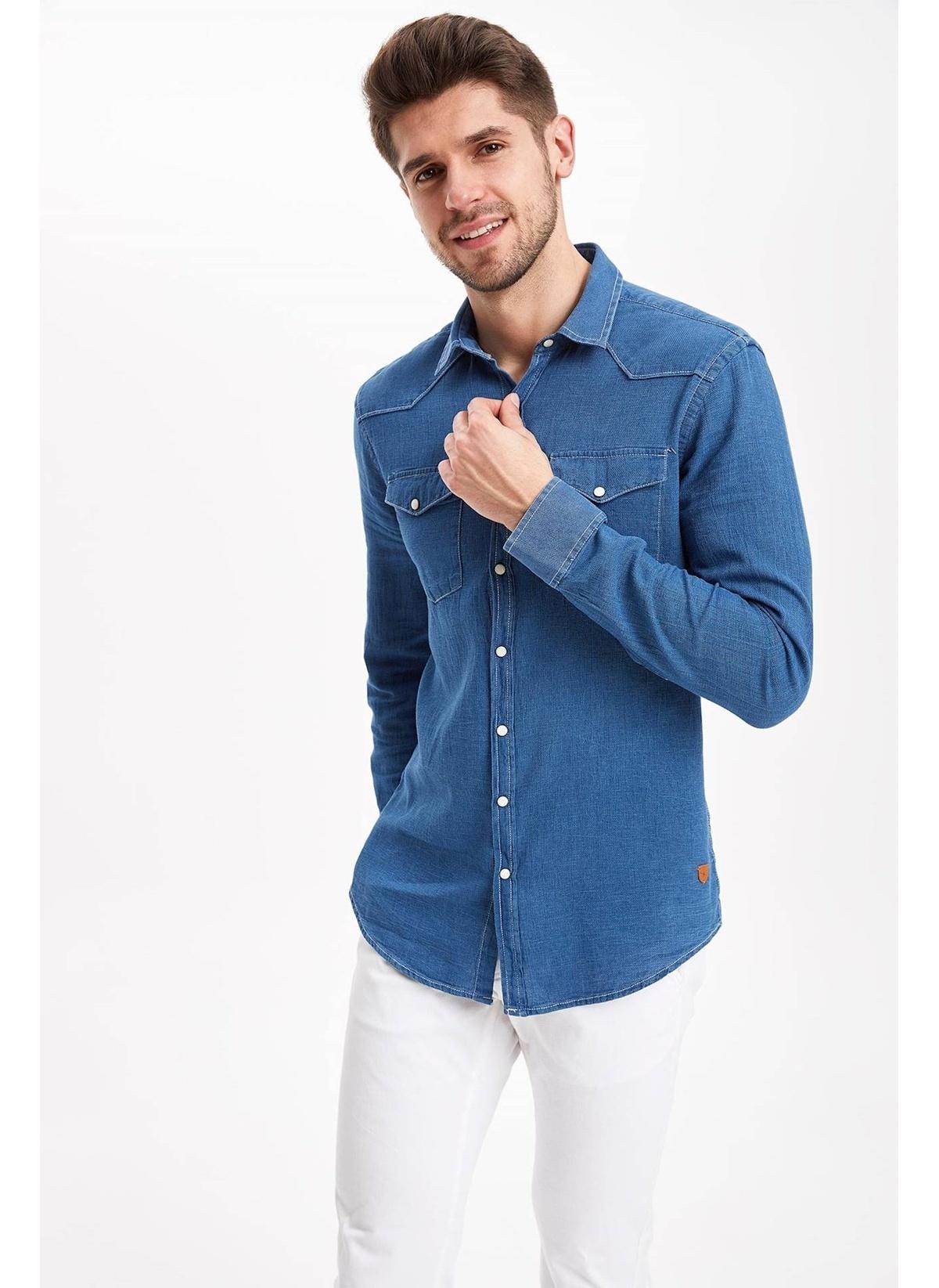Defacto Çift Cepli Slim Fit Gömlek J8814az19spbe393 Gömlek – 99.99 TL